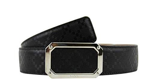 c6bd1805918da3 Gucci Men's Rectangular Black Diamante Leather Belt With Silver Buckle  162946 1000 (80/32) 2019 - Gucci fanny pack