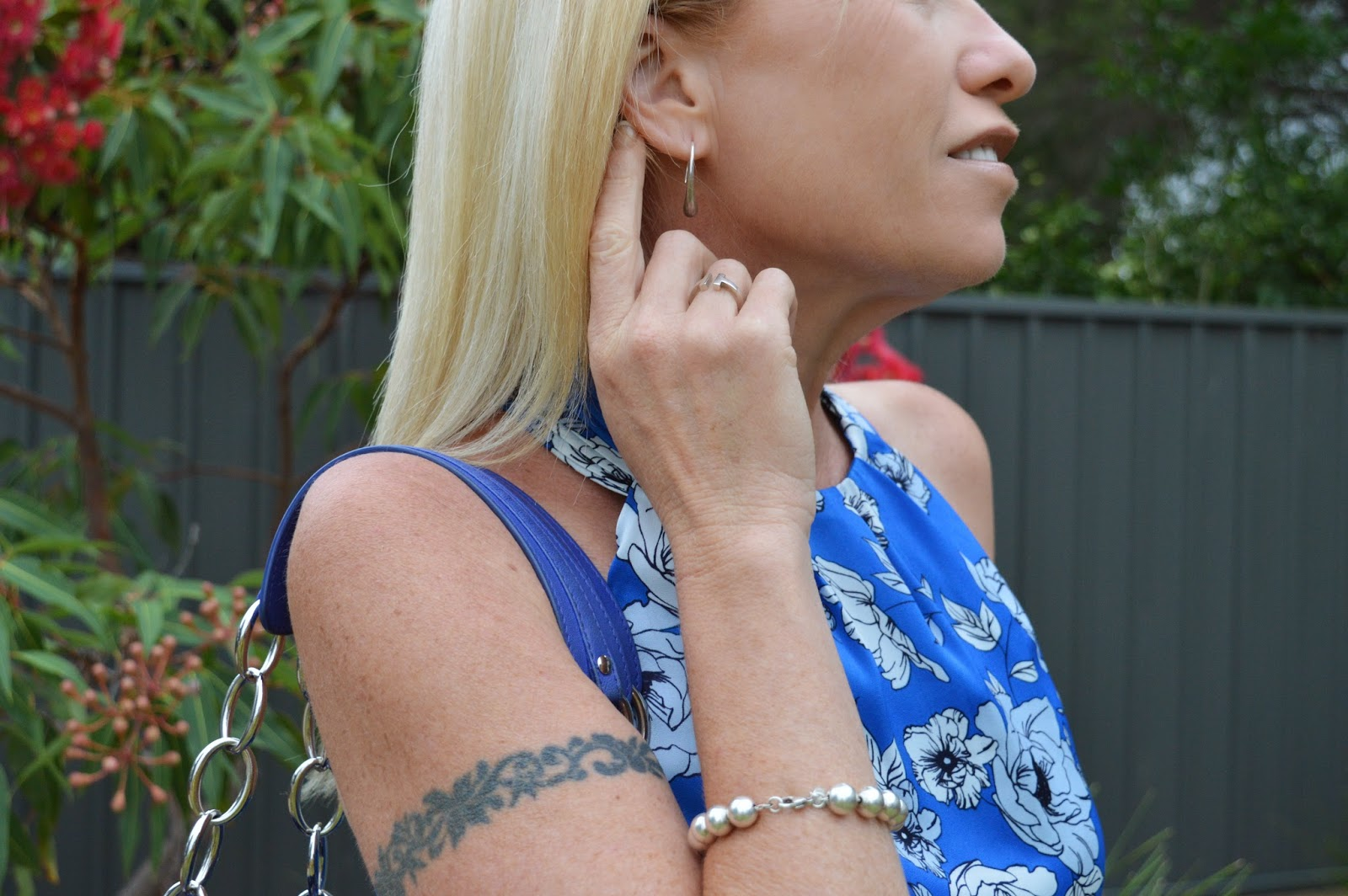 Sydney Fashion Hunter - White Pants, Blue Floral Top, Blue Dior Tote, Tiffany Earrings, Tiffany Bracelet, Tiffany Ring