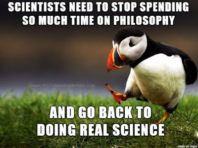 Scientists venture into philosophy far too often, especially regarding evolution. They need to learn about logic, and also do real science stuff.