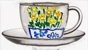 cup and saucer in wildflowers design