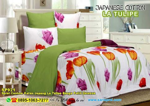 Sprei Custom Katun Jepang La Tulipe Bunga Putih Dewasa