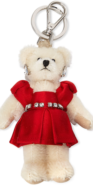 Prada Teddy Bear Charm for Handbag w/Red Dress, Red
