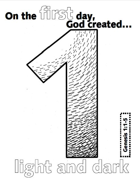 Look to him and be radiant creation numbers for Coloring pages god created the world