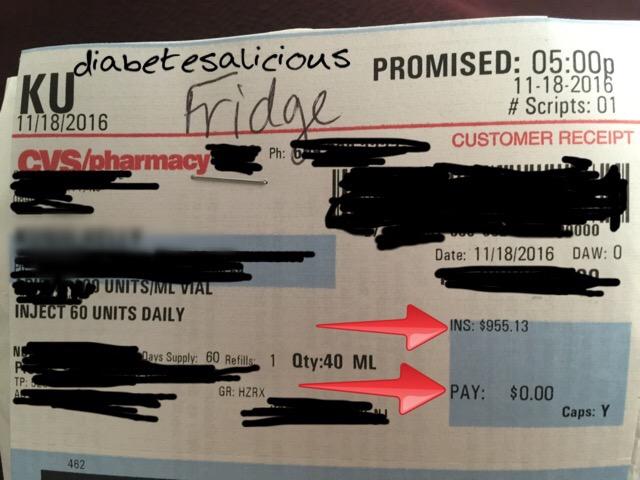 2 Months of Insulin = 4 Bottles & $955.13