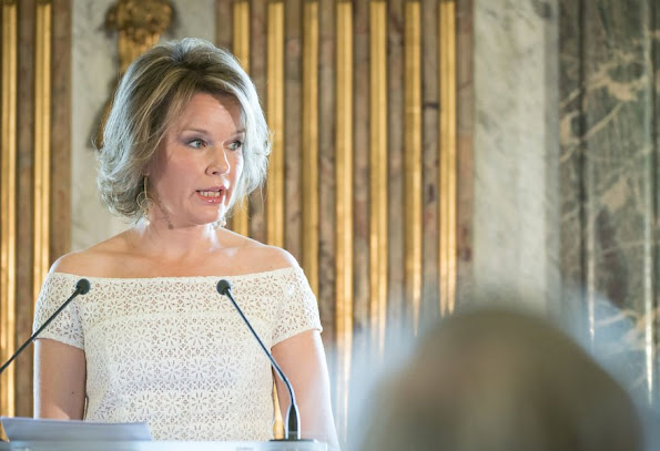 "Queen Mathilde of Belgium presented the 2016 ""Queen Mathilde Prize"" in a ceremony held at the Royal Palace in Brussels. Natan Dress, Jewelery, diamond earrings"