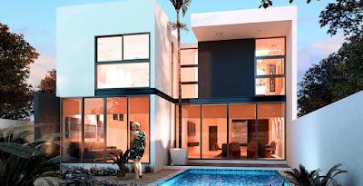 privada modelo residencial Arborettos Modelo Olmo fachada trasera