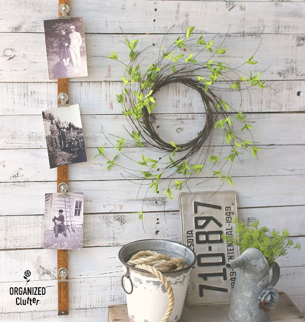 Easy Upcycled and Repurposed Yardstick Photo Displays #upcycling #repurposing #yardsticks #photodisplay #rubontransfers
