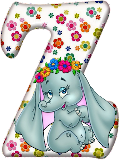 Abecedario con Elefante con Flores. Flowered Alphabet with an Elephant.