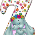 Abecedario con Elefante con Flores. Flowered Alphabet with an Elephant.