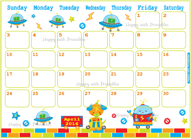 Calendar April 2016 Printable, Kids Planner, Calendar with robots, Mix and Match, Sheet goes Sunday to Saturday, Instant Download