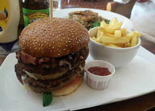 A huge burger at the pub round the corner from where my Dad grew up