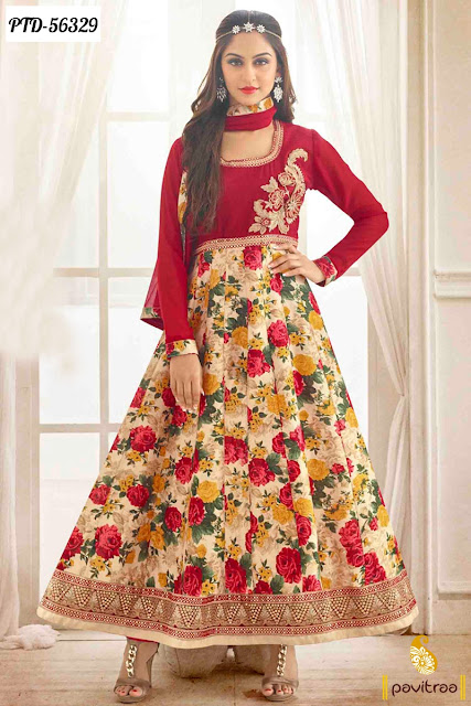 red cream color bhagalpuri Jivika wedding anarkali salwar suit online shopping with discount sale