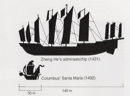 Comparison of Zheng He's admiral ship with Christopher Columbus' flagship Santa Maria