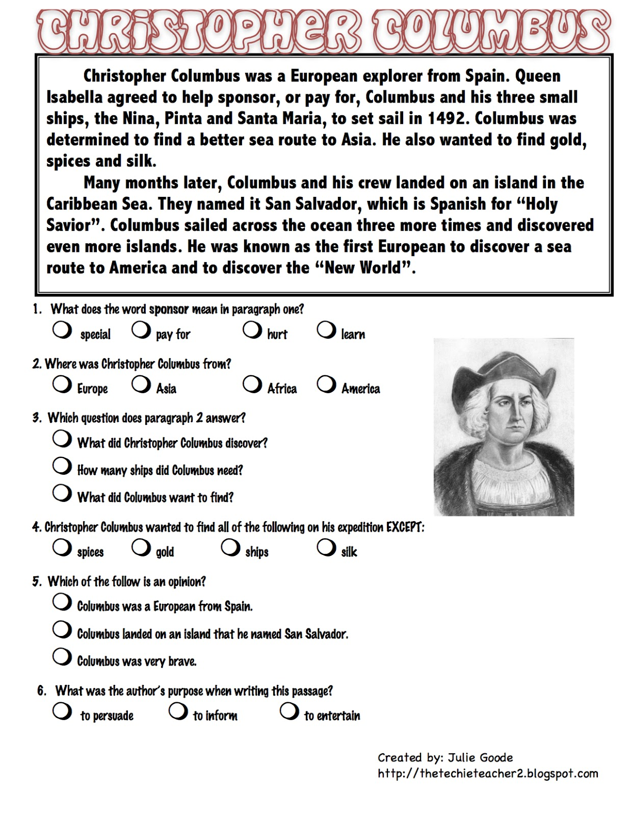 Christopher Columbus Comprehension Worksheet   Printable Worksheets and  Activities for Teachers [ 1600 x 1236 Pixel ]