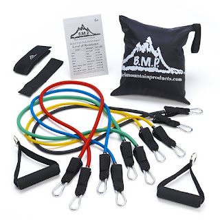 Black Mountain Products Resistance Bank Set with Door Ancor, Ankle Strap, Exercise Chart, and Resistance Band