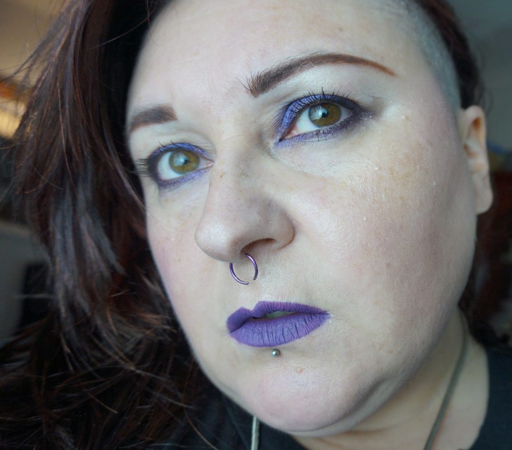 Just Me Leah Plus Size Alternative Blogger undercut purple makeup