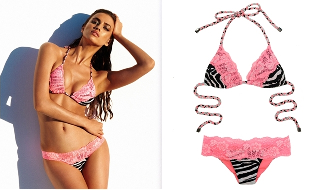 Beach Bunny remember you zebra print bikini with pink lace