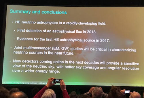 Summary slide for high energy neutrino astrophysics  (Source: Marcos Santander, U of Alabama, at APS April Meeting in Denver)
