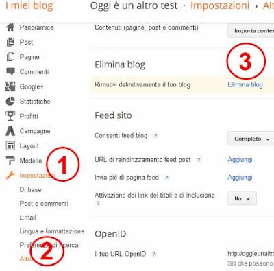 Come eliminare un blog su blogger