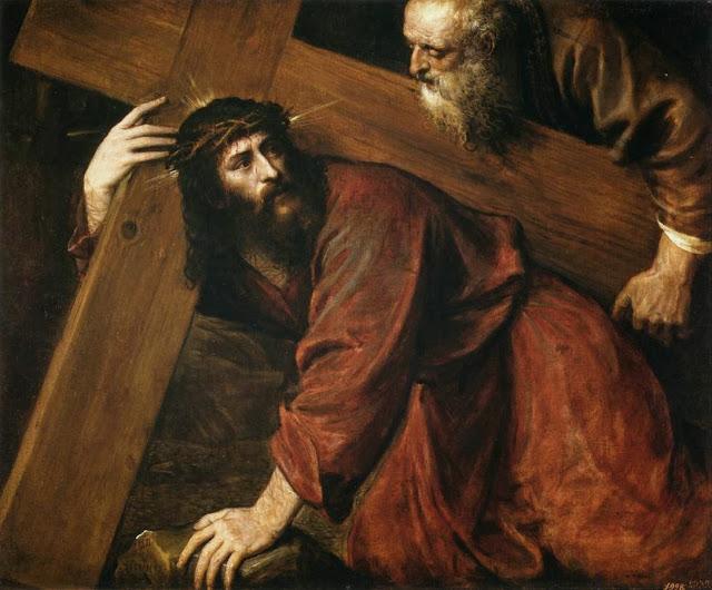 Titien, Simon de Cyrène aide Jésus à porter sa croix (Madrid, 1547).