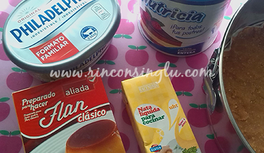 Ingredientes para tarta de queso sin gluten