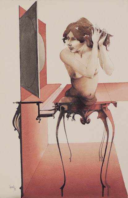 Glauco Capozzoli dibujo coloreado desnudo surrealista la toilette