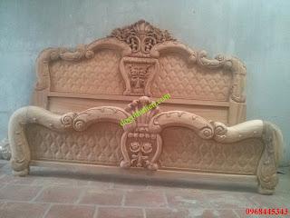giường gỗ gụ hoa hồng