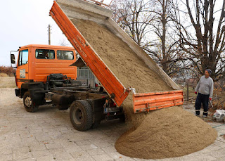 A sand delivery is made