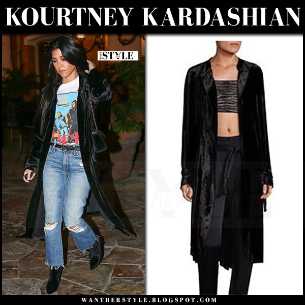 Kourtney Kardashian in black velvet all augusto coat and ripped jeans what she wore
