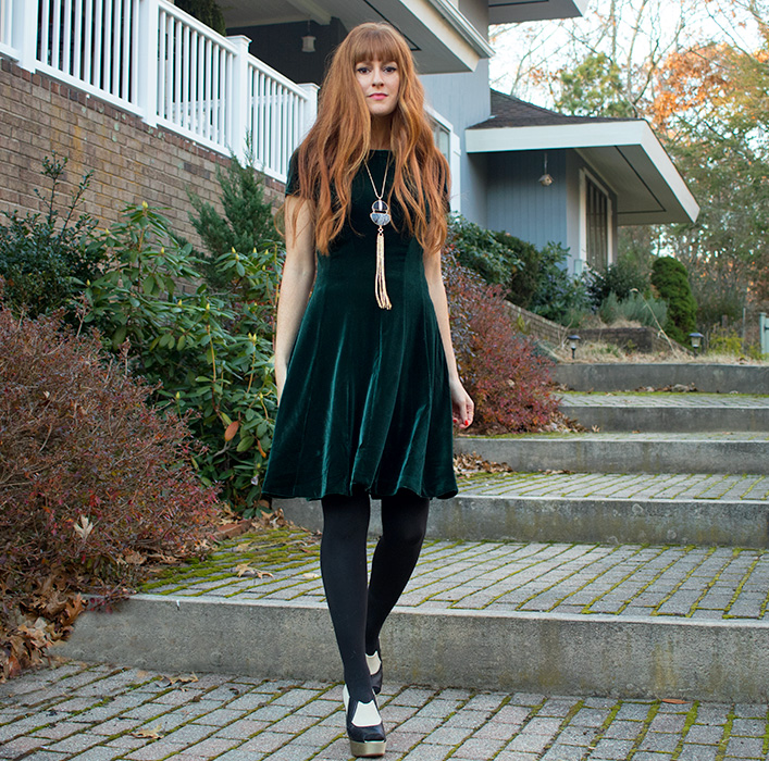 Emerald Velvet Part Dress