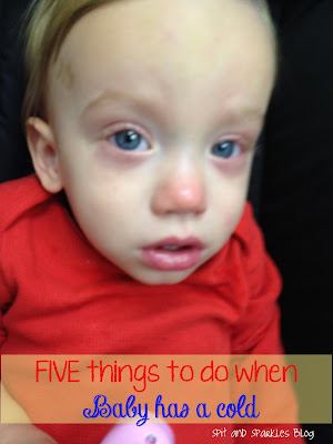 1.Use a vaporizer/cool mist humidifier. 2.Create a sauna in the bathroom by turning on a hot shower and shutting the door. 3. Apply baby vapor rub to chest, neck, back and bottom of feet. 4.Elevate the bottom of baby's bed. 5.Dab Chapstick around and underneath nostrils to relieve a raw nose. #sickbaby #coldremedies #homepathic