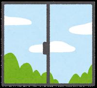 窓の外の天気のイラスト(昼)