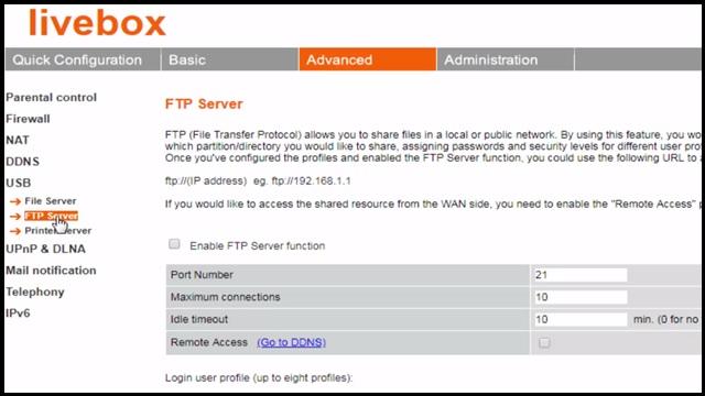 Livebox ftp server setup