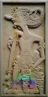 Relief wayang antasena ukir batu alam