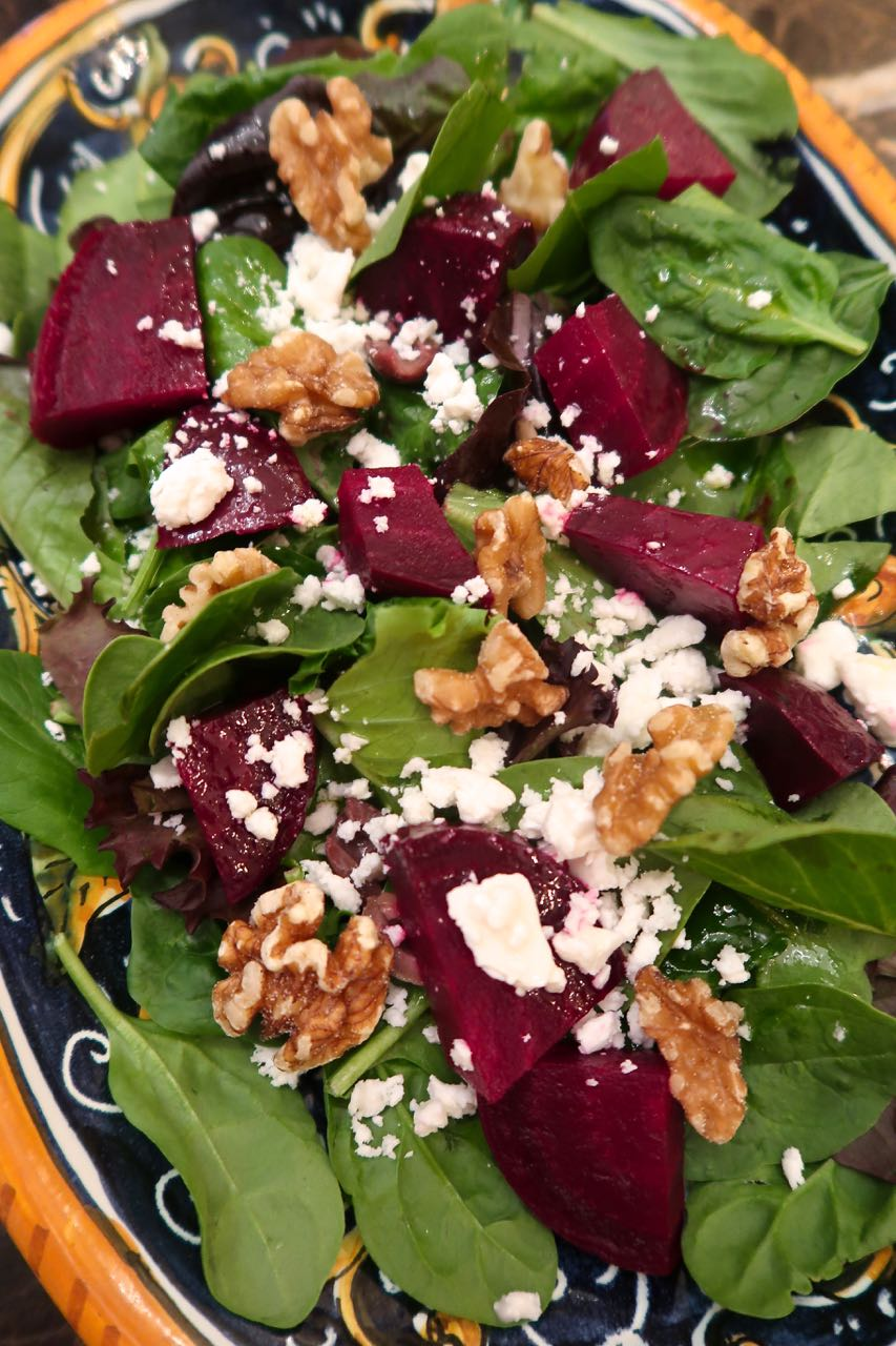 Scrumpdillyicious: Roasted Beet & Spinach Salad with Walnuts and Feta