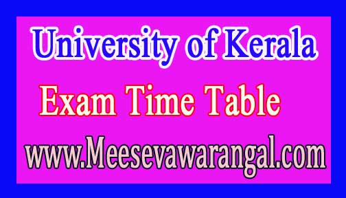 University of Kerala LLB 3 Year IInd Sem Unitary Jan 2017 Exam Time Table