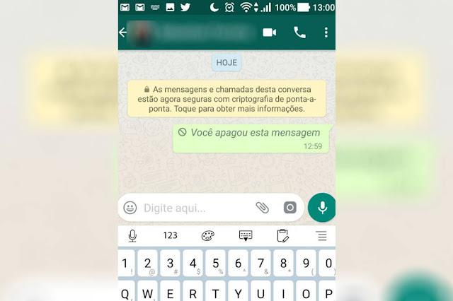 WhatsApp liberou ontem a função de apagar mensagens já enviadas