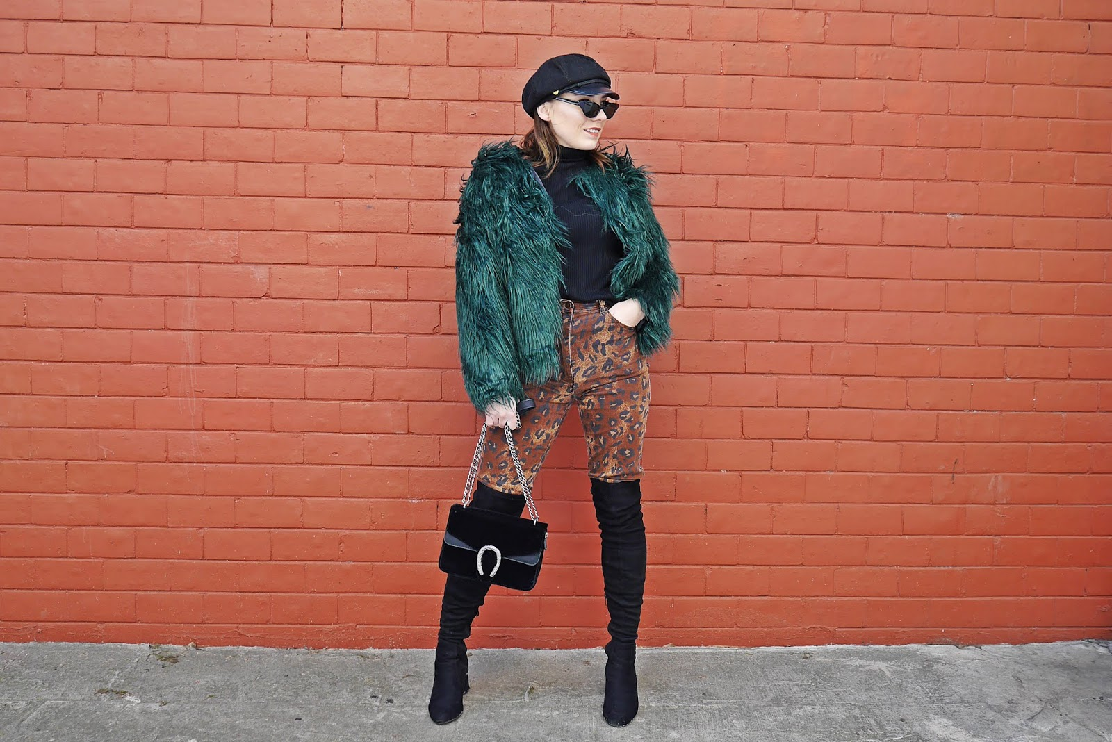 green fur leopard pants high knee boots karyn fashion blogger blogerka modowa outfit