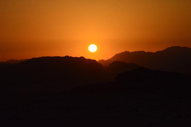 Coucher de soleil dans la Réserve du Wadi Rum