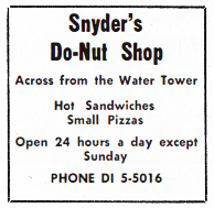 advertisement for Snyder's Donut Shop
