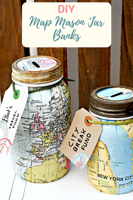 DIY Mason Jar Map Banks by Pillar Box Blue