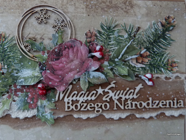 tekturki i detale kartki świątecznej