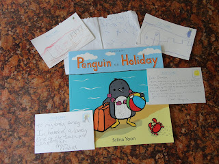 Postcards based on Penguin on the Holiday Book
