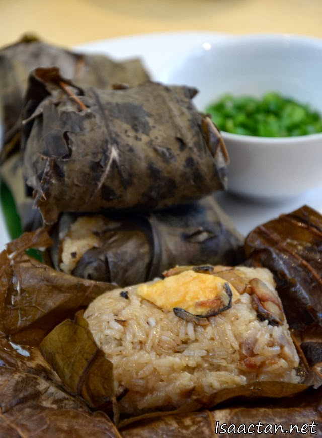 Steamed Glutinous Rice with Dried Oyster, Salted Egg Yolks and Dried Shrimps