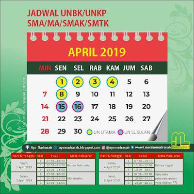 Jadwal UNBK/UNKP 2019 SMA/MA