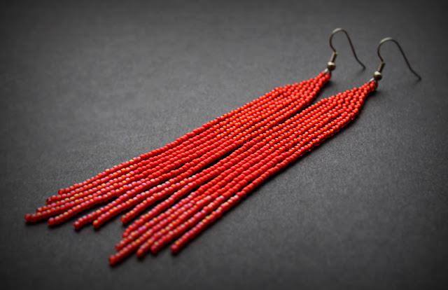 длинные бисерные серьги красного цвета купить в интернет магазине изделий из бисера