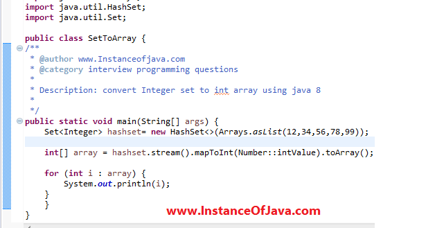 How to Convert integer set to int array using Java 8