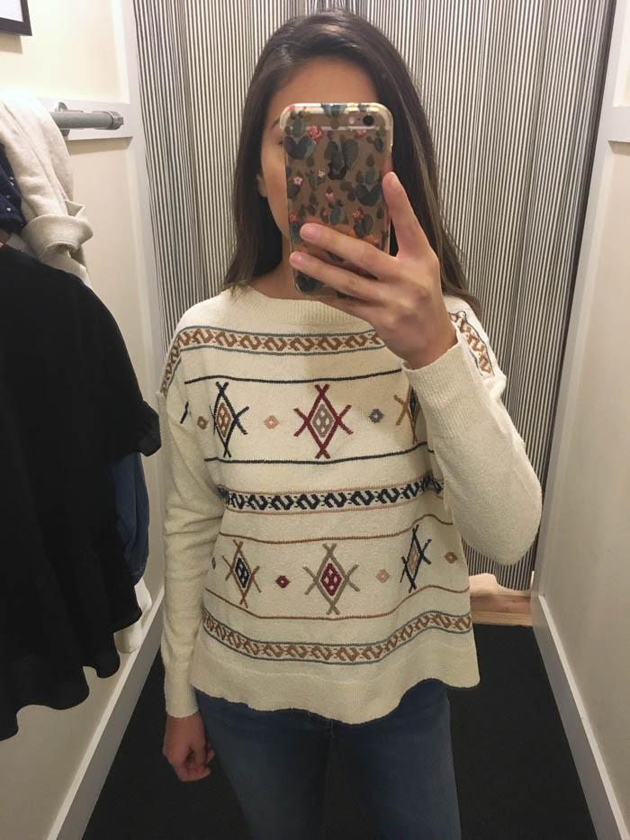 boho cream sweater