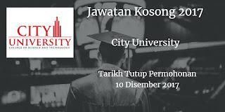 Jawatan Kosong City University 10 Disember 2017