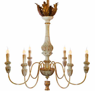 Tutu French Country Weathered White and Antique Gold Chandelier.